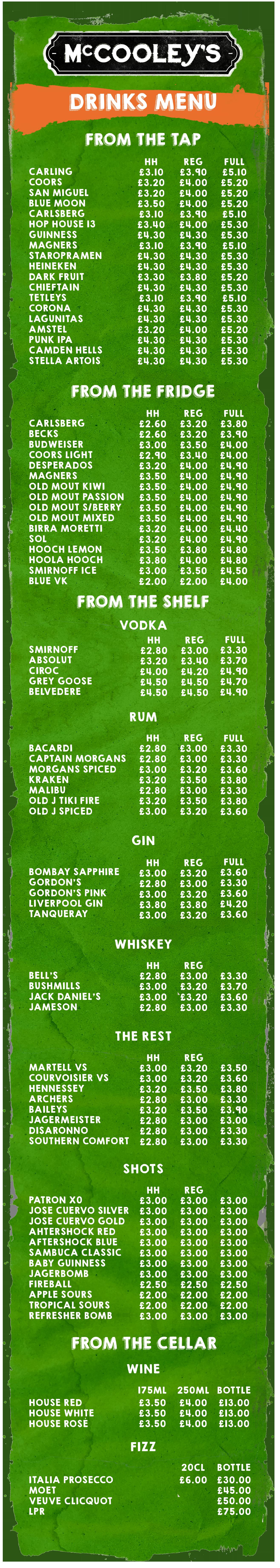 mccooleys drinks menu